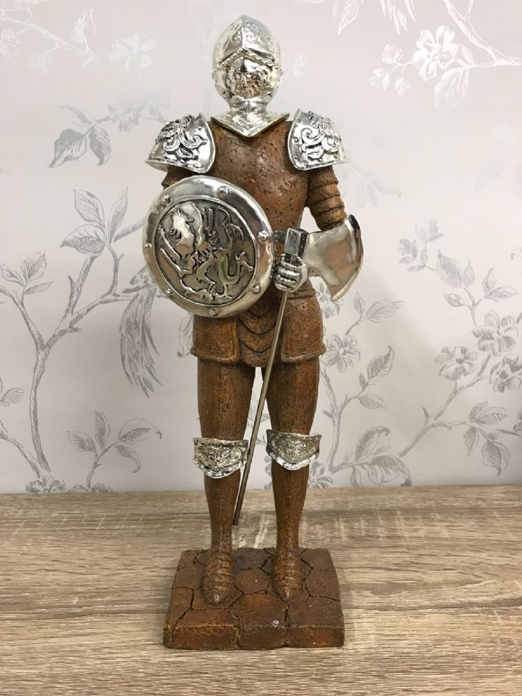 Classic Knight Figurine ~ Silver effect Shield and Armor